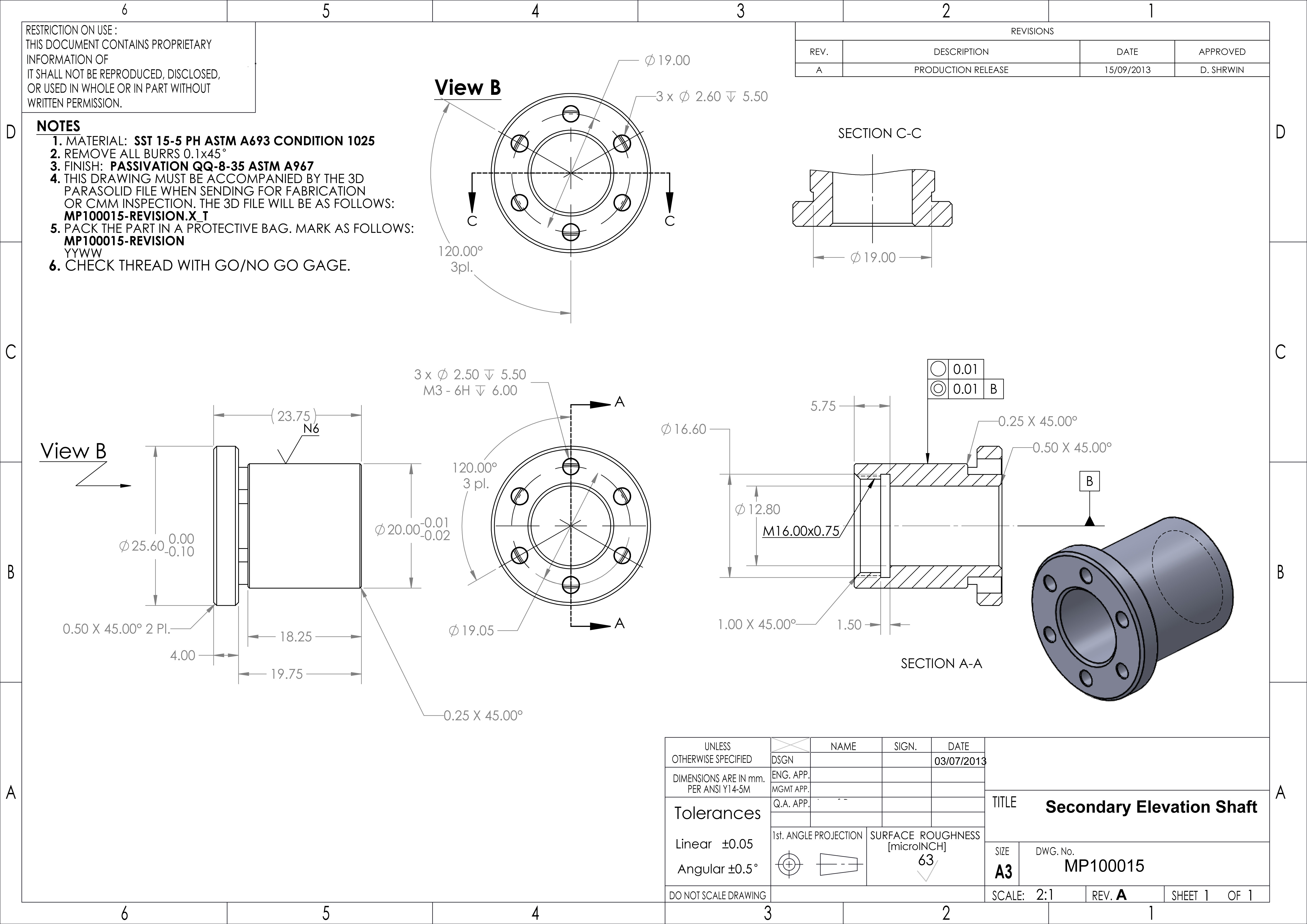 Detail Manufacture Drawing